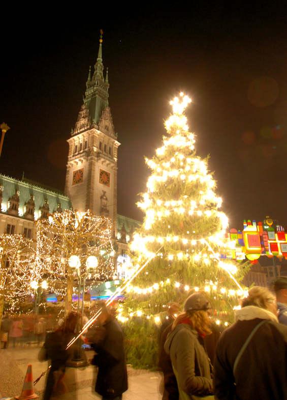 0897 4255 tannenbaum nadelbaum mit lichterketten auf dem hamburger weihnachtsmarkt vor dem. Black Bedroom Furniture Sets. Home Design Ideas