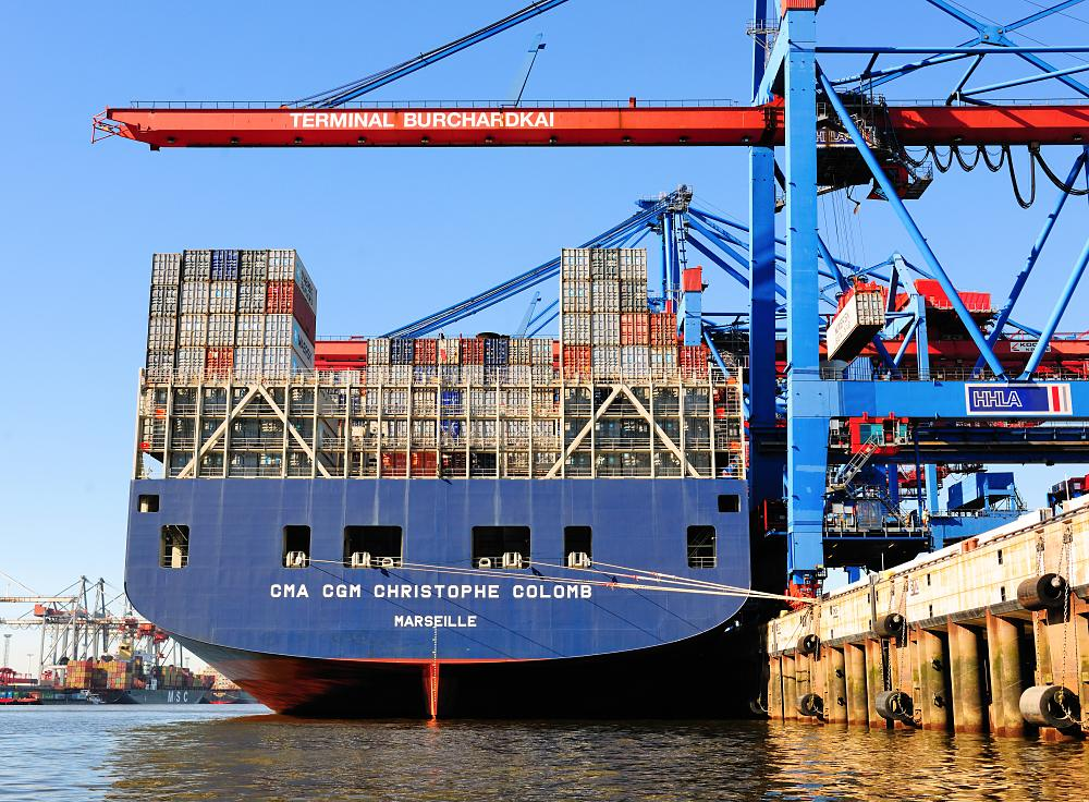 1598_1148 Schiffsheck mit Containerladung - CMA CGM CHRISTOPHE COLOMB. | Container Terminal Burchardkai CTB