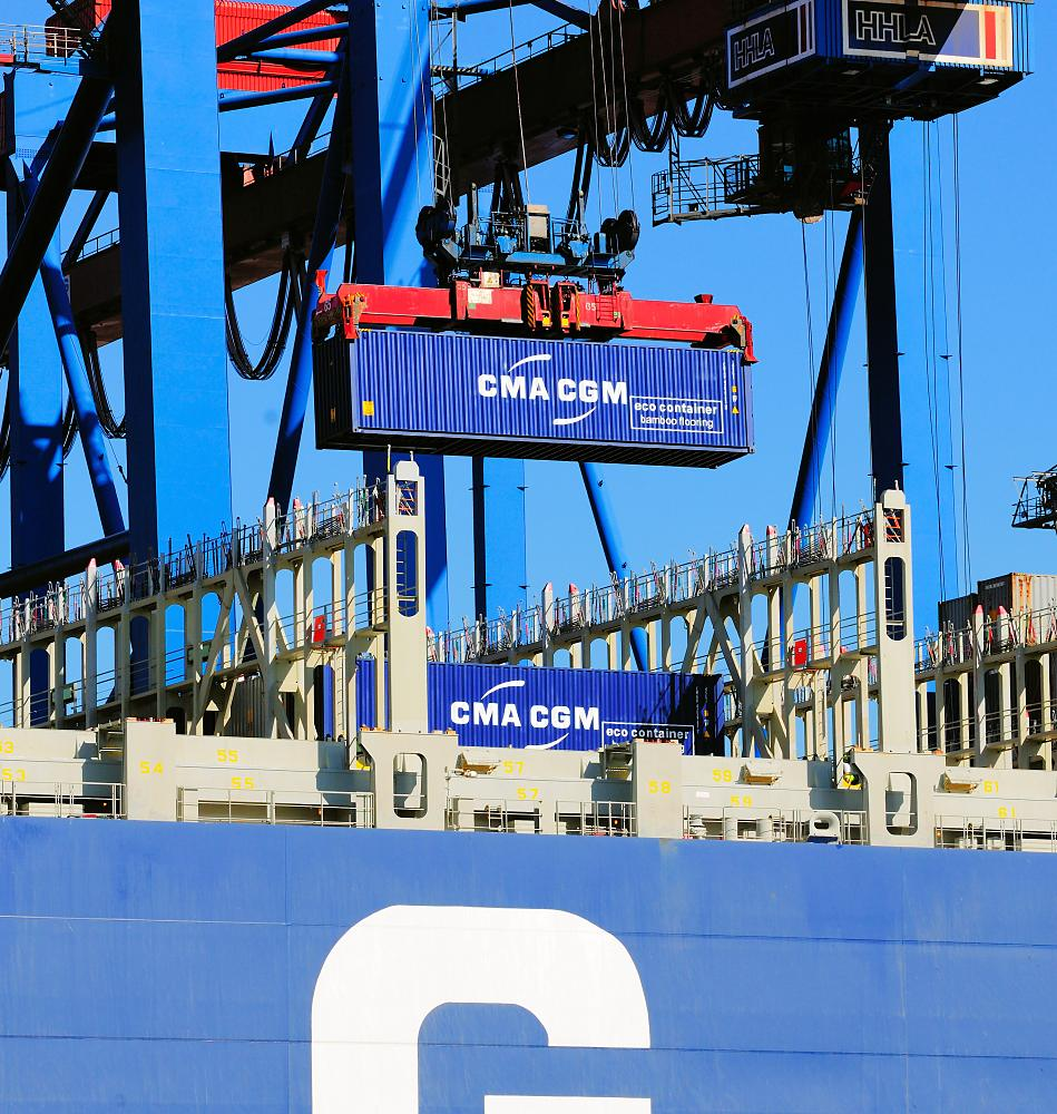 2078_1068-b Entladung des Containerfrachters CMA CGM CHRISTOPHE COLOMB im Hamburger Hafen. | Container Terminal Burchardkai CTB