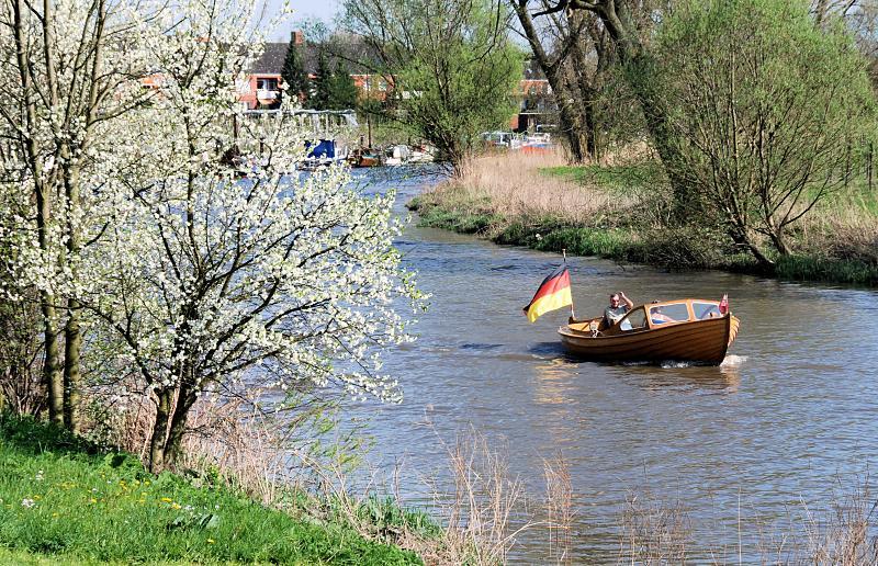 2630_1815 Blühende Bäume am Ufer der Lühe - ein Motorboot fährt ...